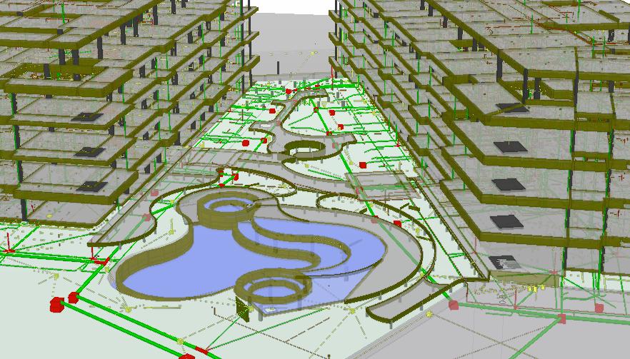 Visão integrada das instalações do pátio da edificação