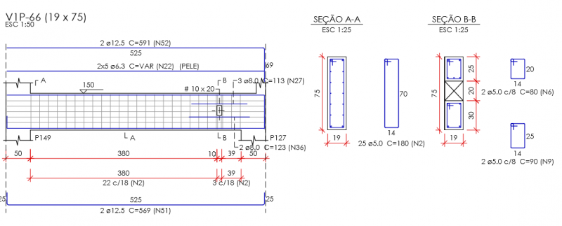 Detalhamento da viga com previsão do furo para a tubulação hidráulica. Elemento calculado e detalhado com o auxílio do software Eberick